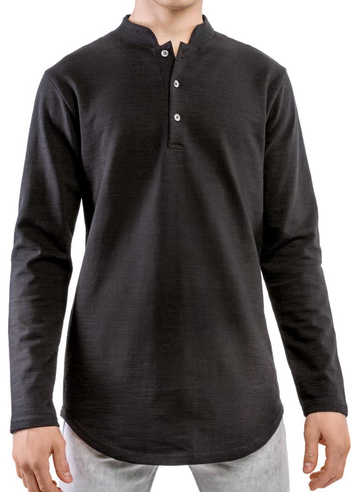 Long sleeve henley black entity for Black long sleeve henley shirt